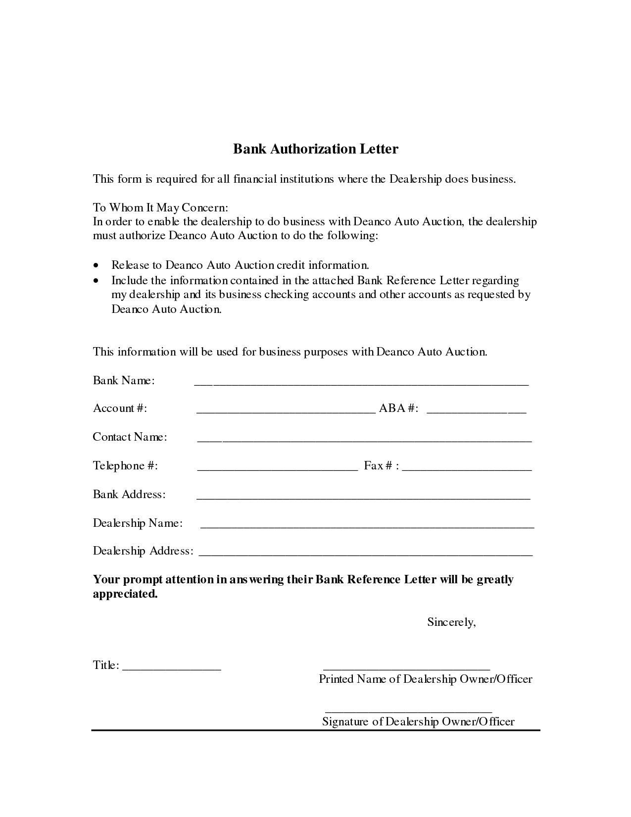 sample authorization letter to bank manager