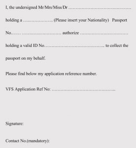 Authorization Letter Format For Passport Collection