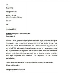 Sample Authorization Letter To Receive Passport Delivery