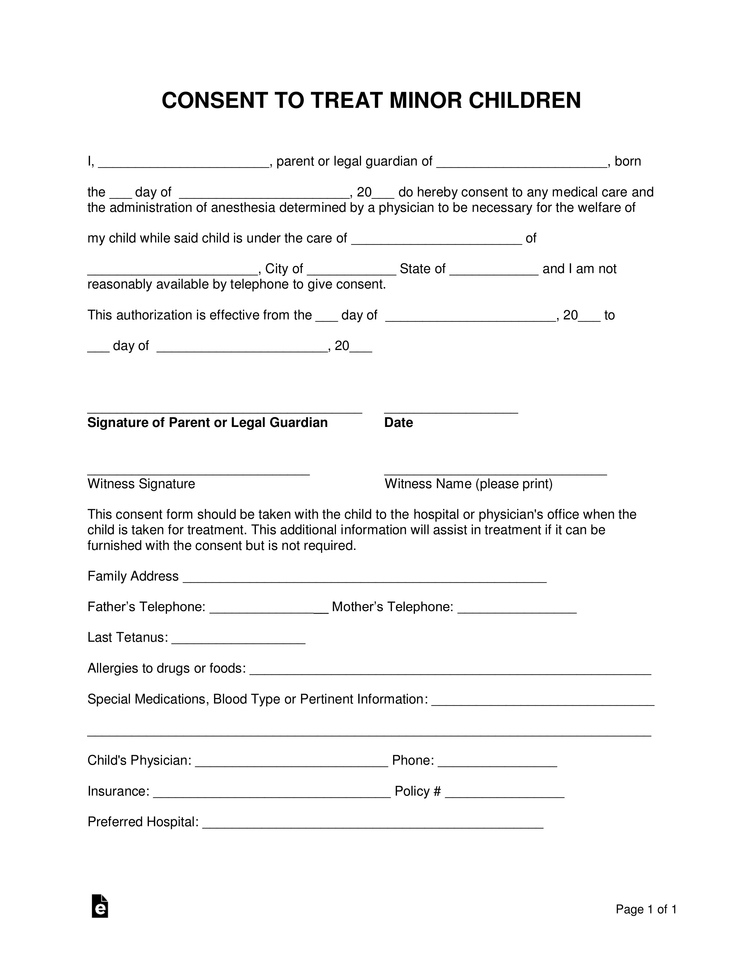 Child Care Authorization Form