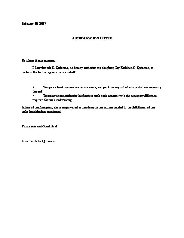 authorization letter for bank account opening