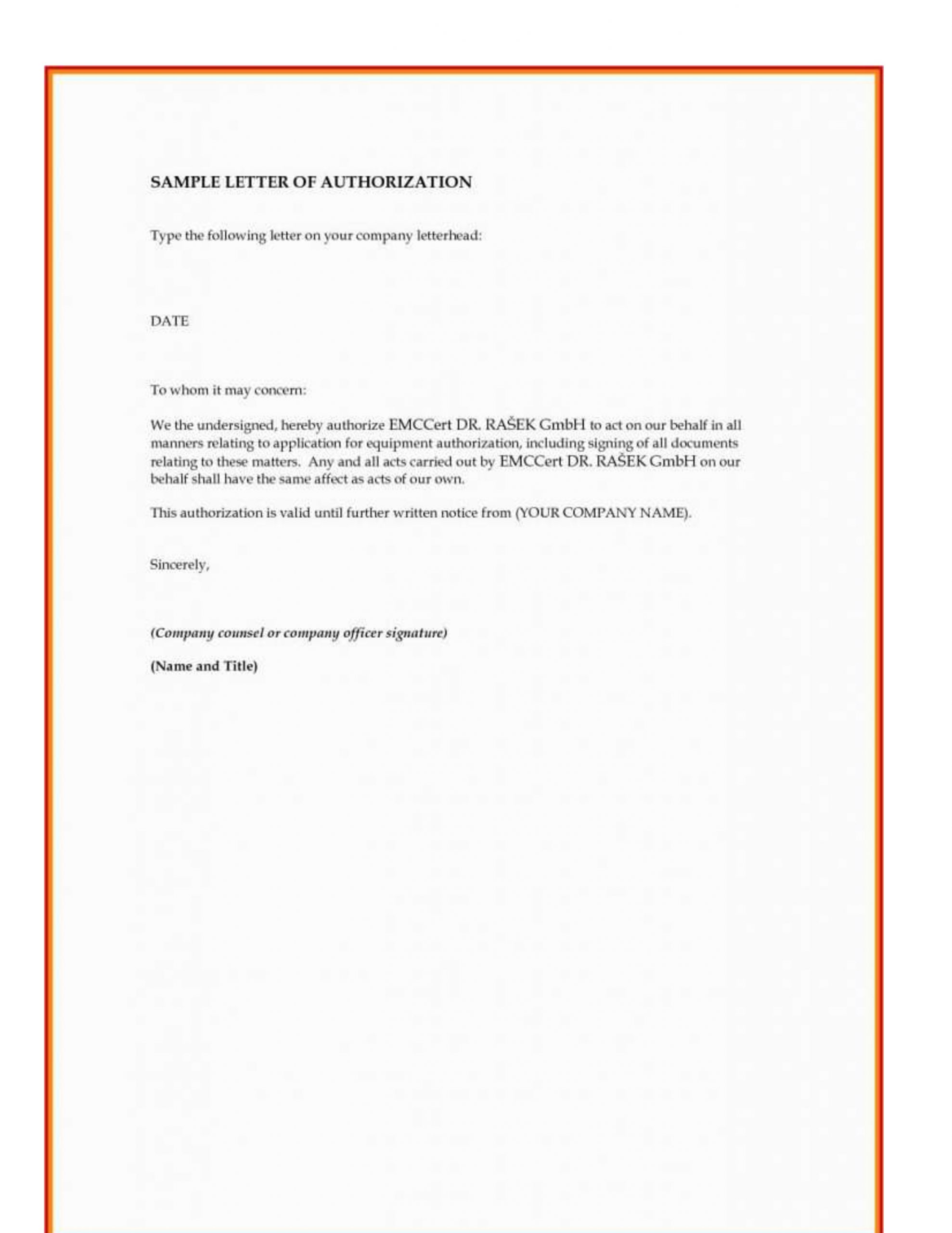 Authorization Letter Sample To Process Documents from authorizationletter.org