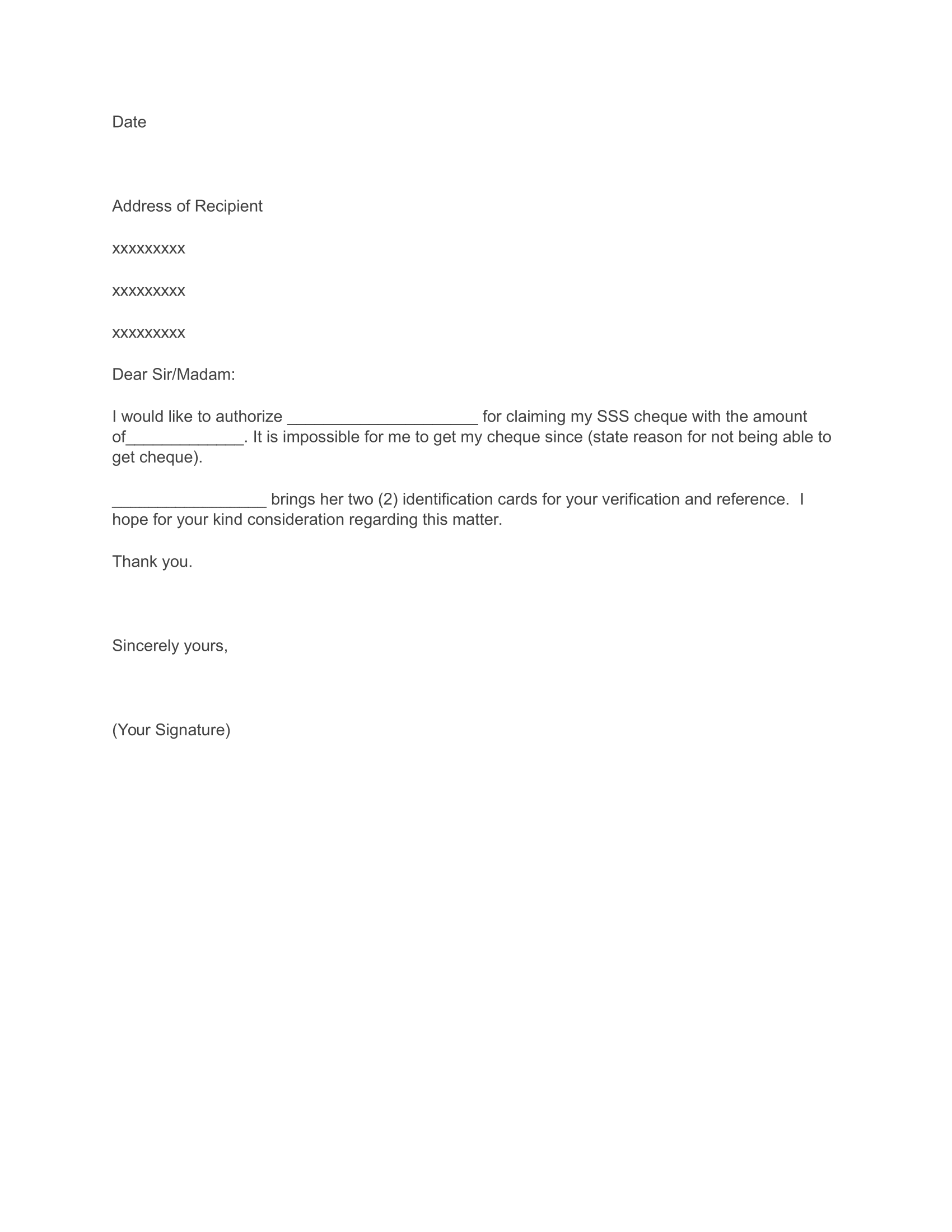 Authorization Letter Format for SSS