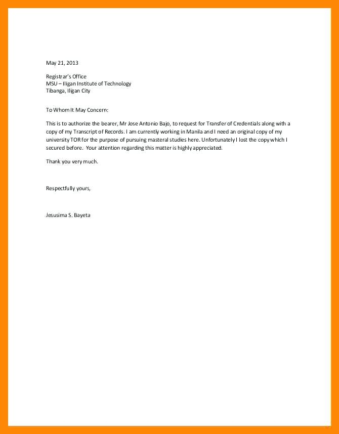 Authorization Letter Sample for SSS Pension