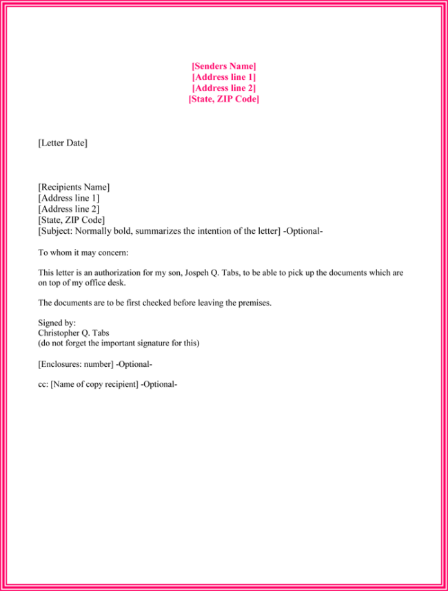 Authorization Letter Sample to Act on behalf to Process Documents