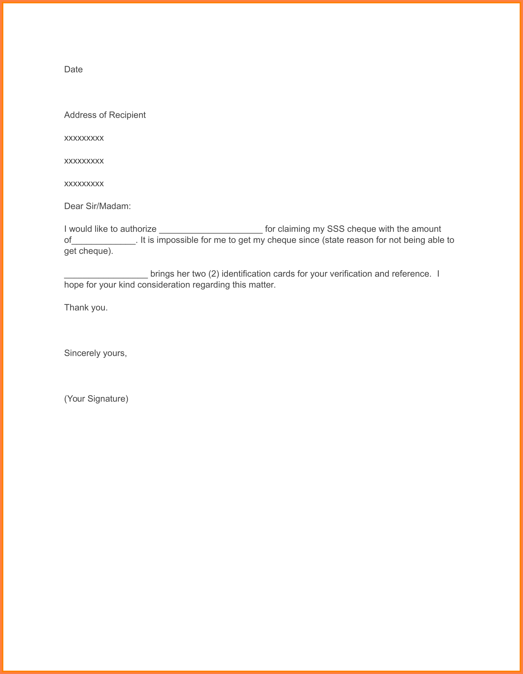 Authorization Letter for SSS Maternity