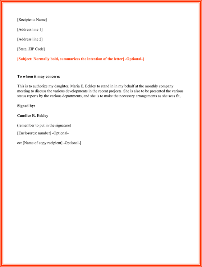 Authorization Letter sample to act on behalf to Sign Documents