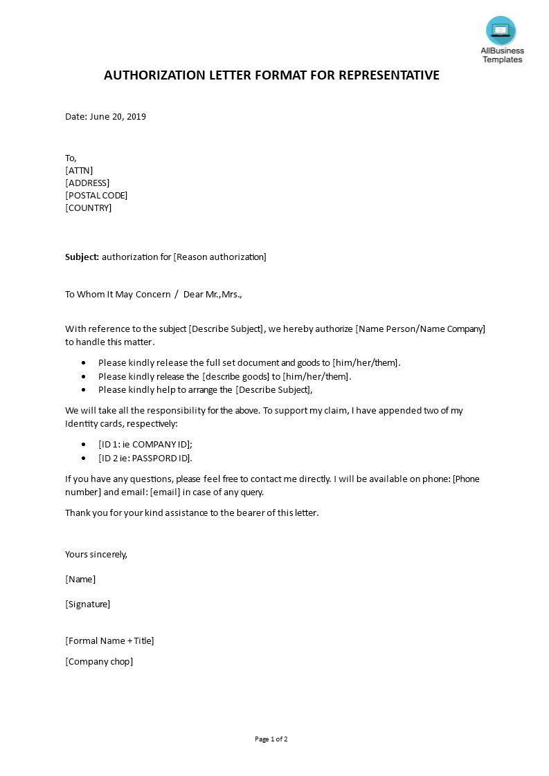 Representative Sample Letter of Authorization to act on Behalf