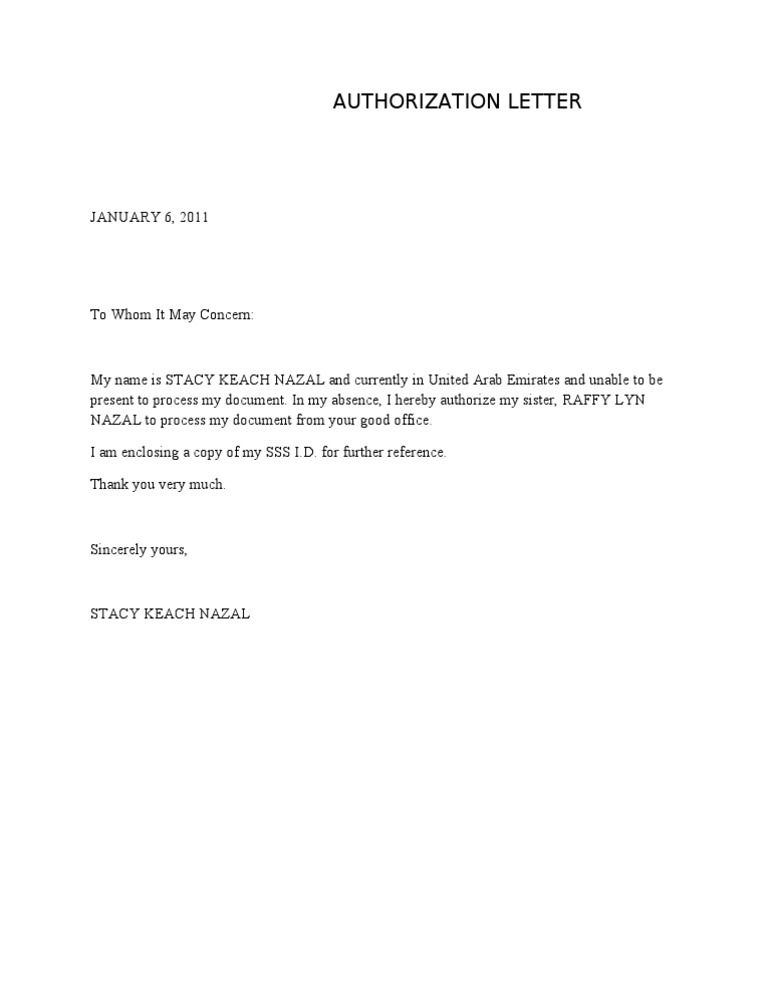 Sample Authorization Letter for SSS Company Representative