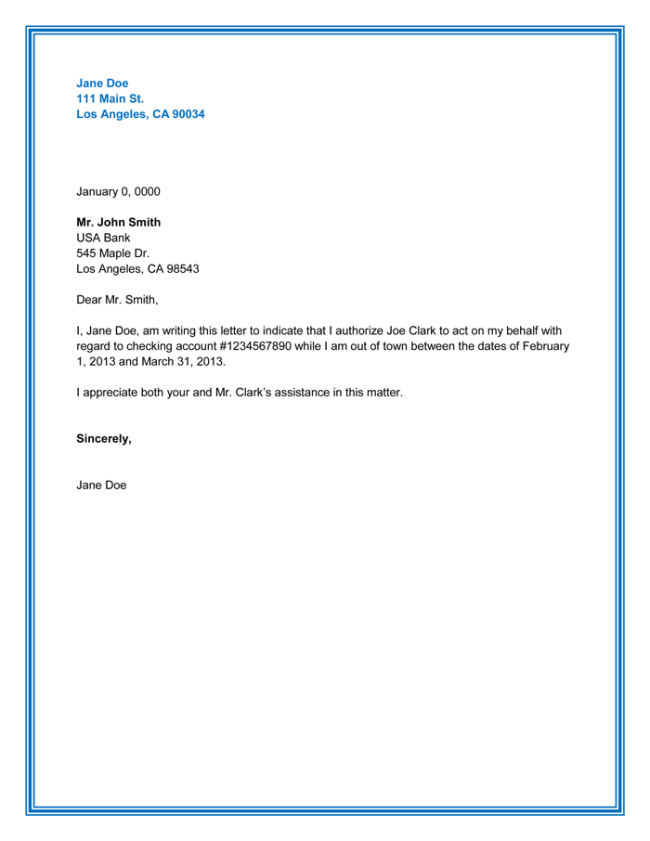 Sample Authorization Letter for SSS Transactions