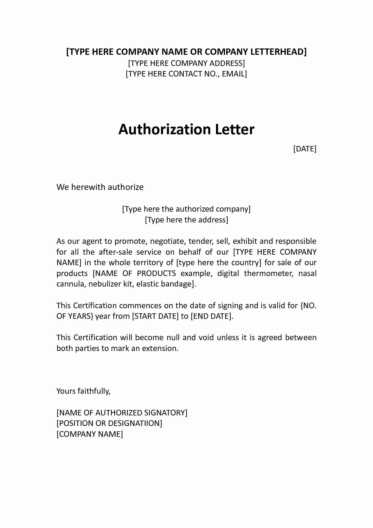 Sample letter of Authorization to act on behalf in Court