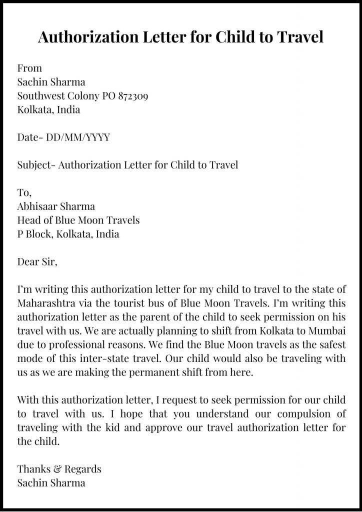 Authorization Letter for Child to Travel