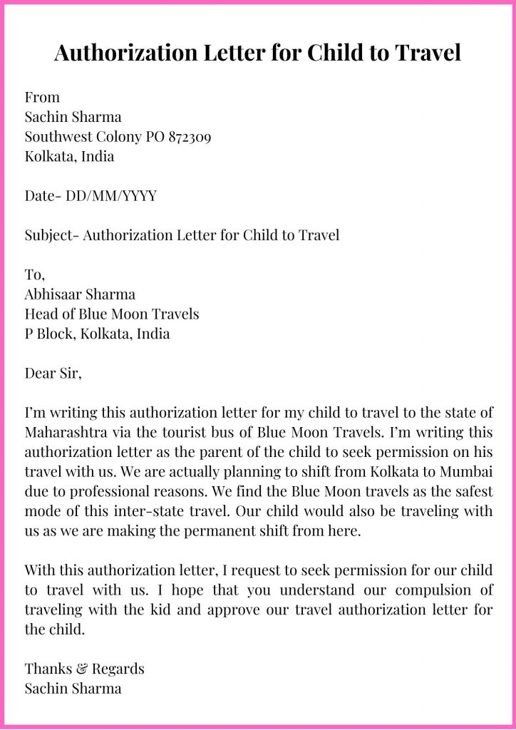 Authorization Letter for Child to Travel Template