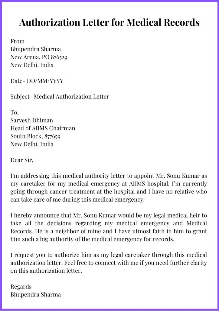 Authorization Letter for Medical Records Template