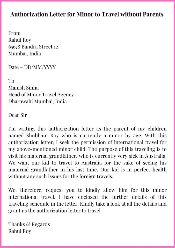 Authorization Letter for Minor to Travel without Parents Sample