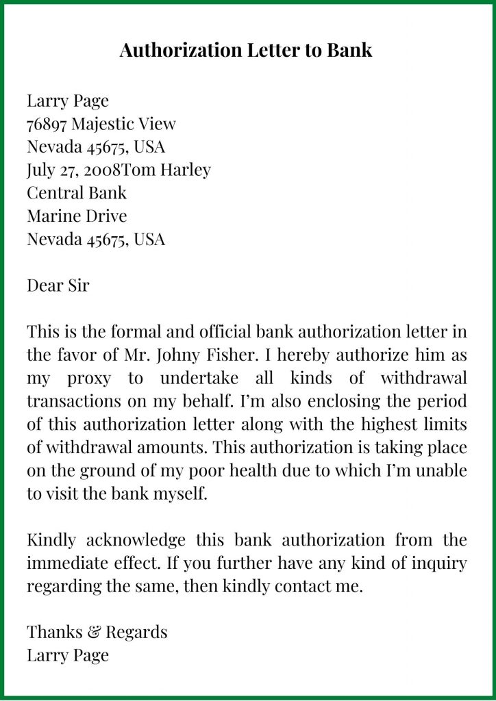 Authorization Letter to Bank