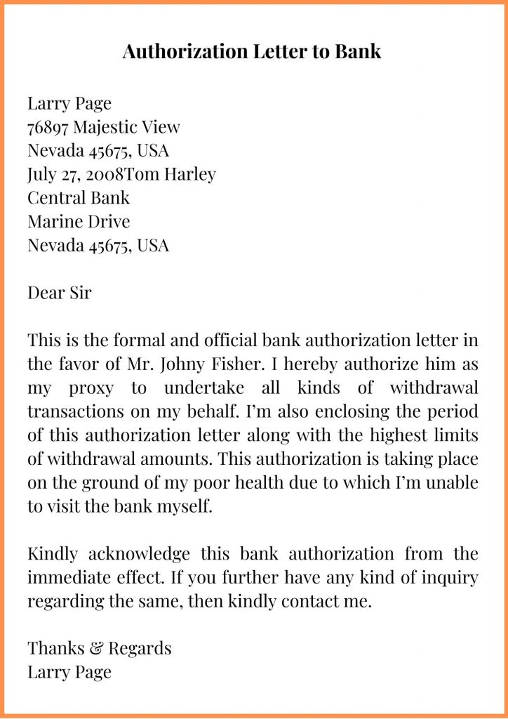 Authorization Letter to Bank Template