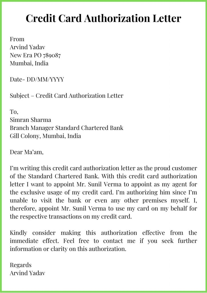 Credit Card Authorization Letter Template