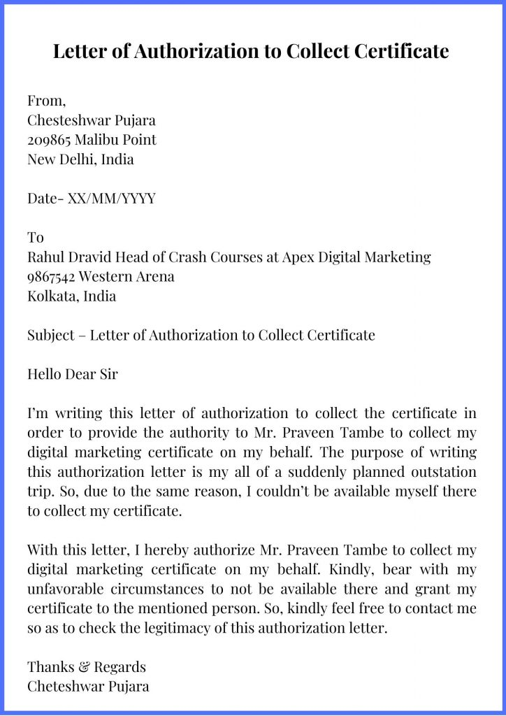 Letter of Authorization to Collect Certificate