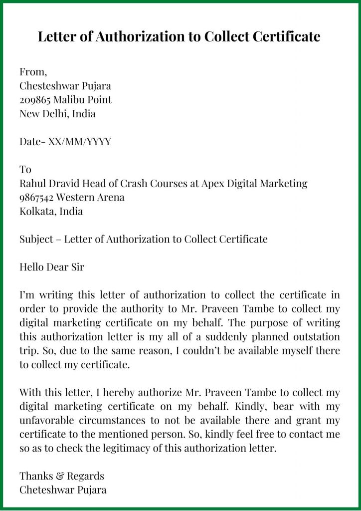 Letter of Authorization to Collect the Certificate