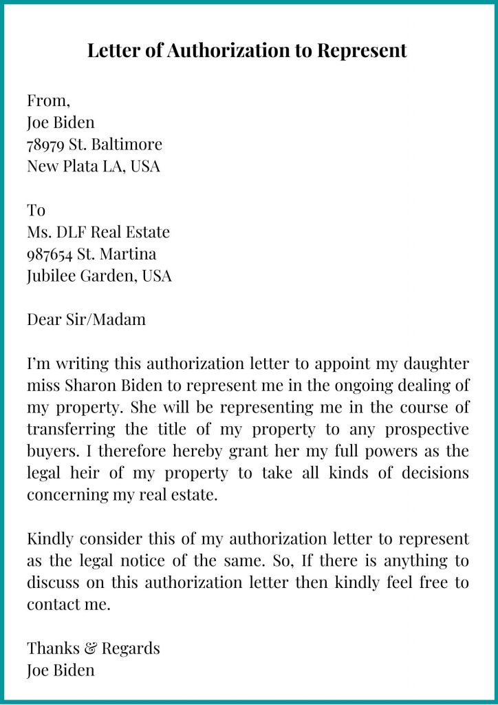 Letter of Authorization to Represent
