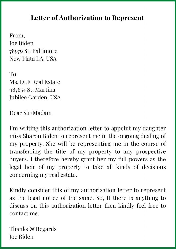 Letter of Authorization to Represent Template