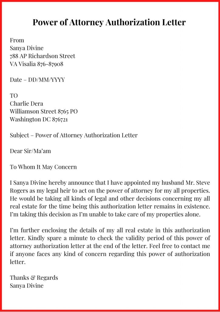 Power of Attorney Authorization Letter Template