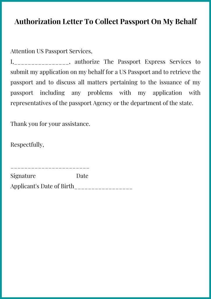 Authorization Letter To Collect Passport On My Behalf